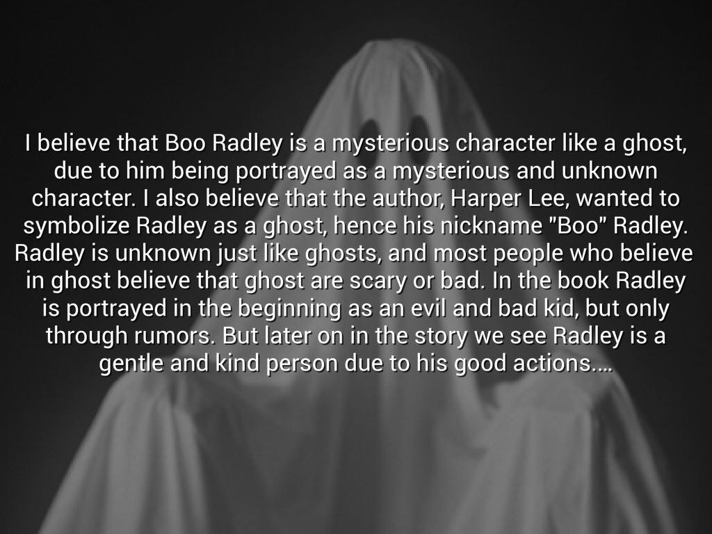 boo radley character analysis Children's superstitions about boo radley- throughout the novel the children describe boo radley as a dark and demonized character, by recounting old rumours made from the people of the neighbourhood.