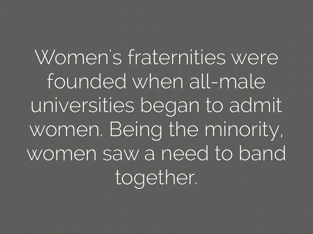 fraternitiessororities essay How fraternities and sororities impact students (or do they) drinking, academics, and social behavior under the microscope posted sep 01, 2011.