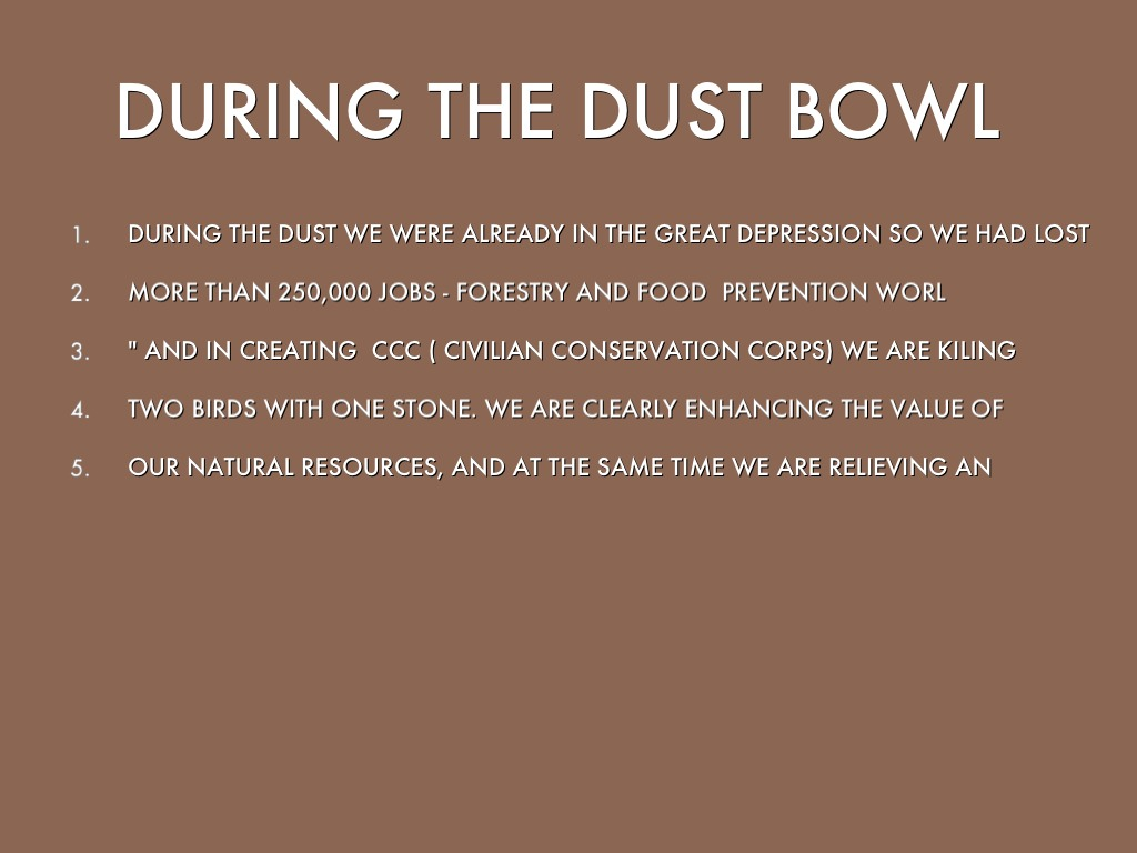 the dust bowl 2 essay Some of the reasons that the dust bowl occurred were over-farming, livestock over-grazing, drought and poor farming practices there were more than 100 million acres of land affected by the dust bowl there were 14 dust storms in 1932 on the great plains there were 38 dust storms in 1933 on the.