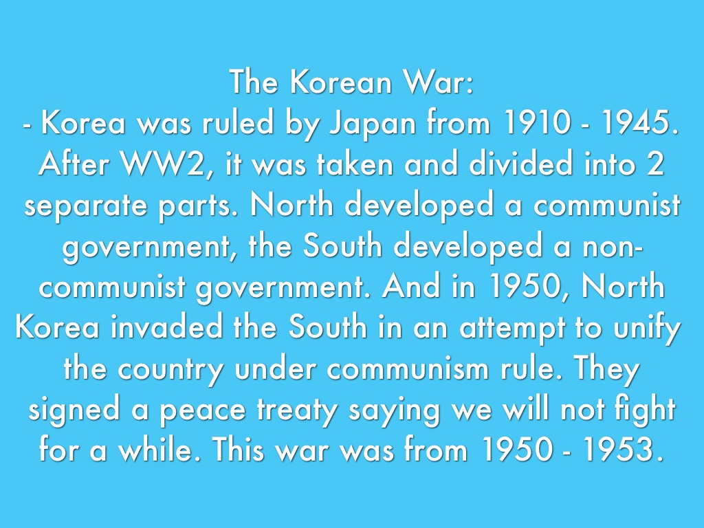 a description of the korean war in 1950 1953 south korea as invaded by north korea Korea, south see under korea korea , korean  invaded by north korea and chinese communists in 1950 but division remained unchanged at the end of the war (1953.