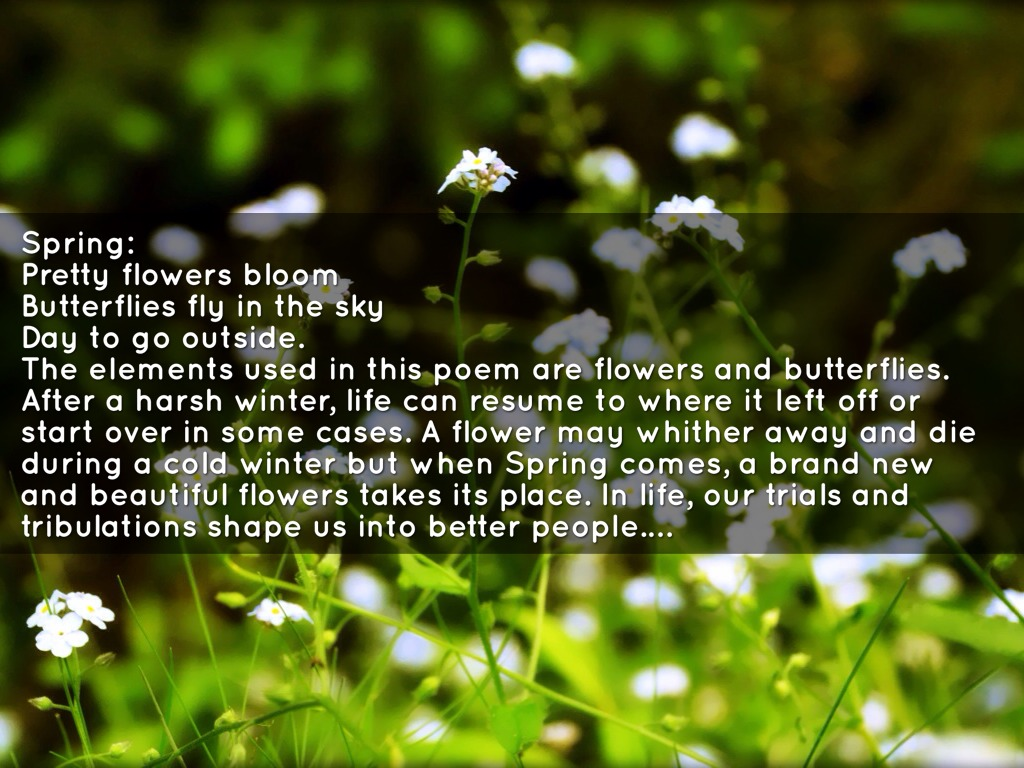 Haiku poem by michael reyes spring pretty flowers bloom butterflies fly in the sky day to go outside the elements used in this poem are flowers and butterflies mightylinksfo