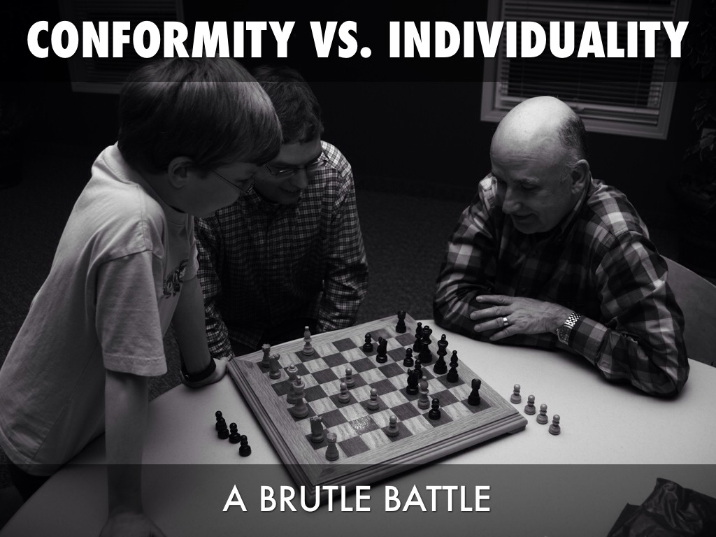 conformity vs individuality Conformity vs individuality september 4th, 2006 by laura moncur in motivation conformity: it's like it's a dirty word or something maybe because it represents a more guttural side to ourselves.
