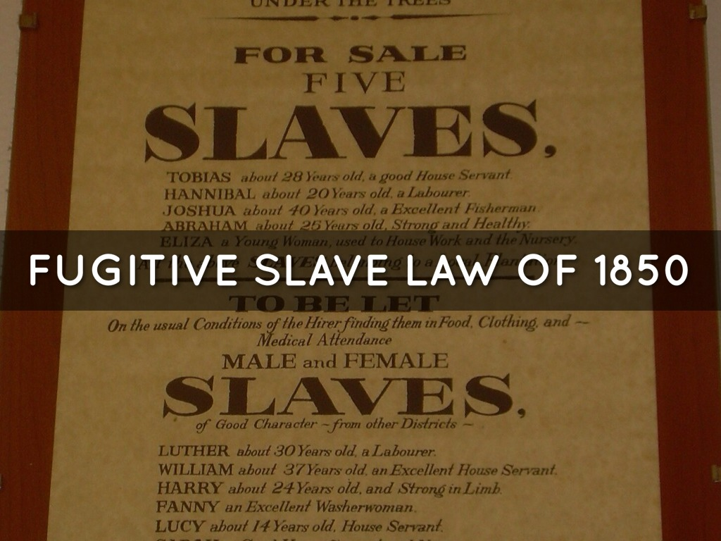 essays on fugitive slave law of 1850 Fugitive slave act vs personal liberty laws order description fugitive slave act vs personal liberty laws background information on fugitive slave act essay.