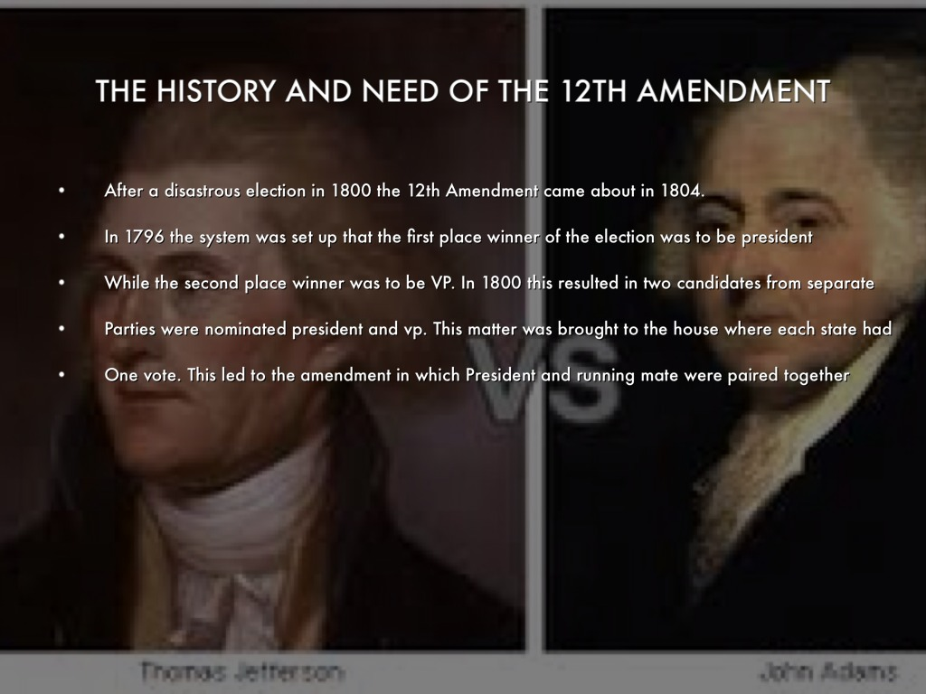 a review of the 12th amendment I wrote earlier about hamilton' role in the election of 1800, in which thomas  jefferson and aaron burr received an equal number of electoral.