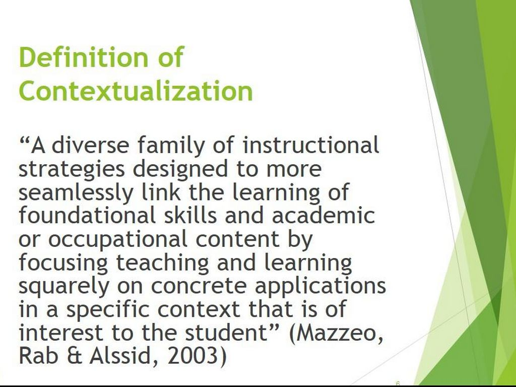 Contextualized Instruction In The De Classroom By Yr01