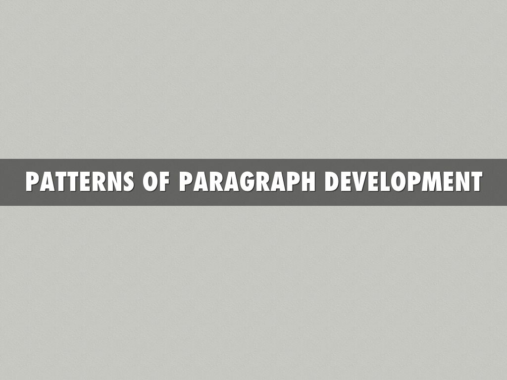 patterns of paragraph development