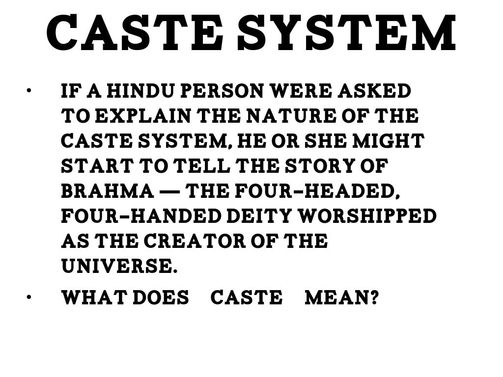 what does caste system mean