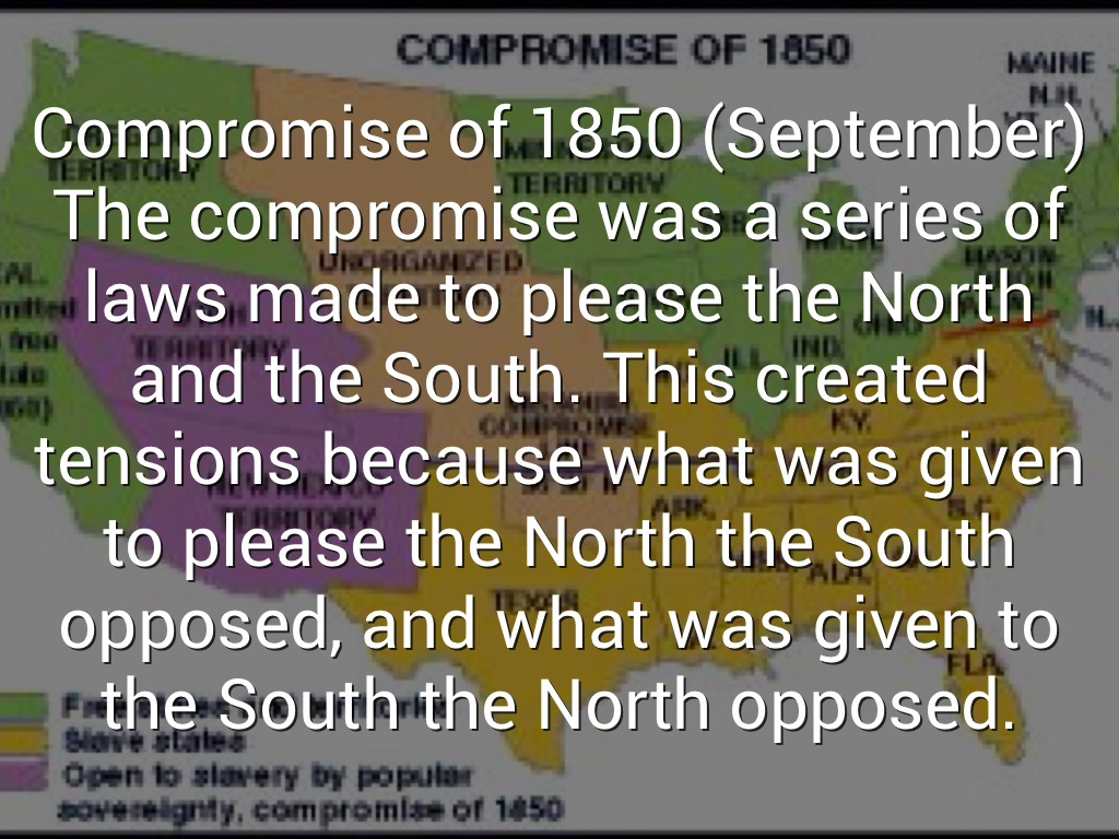 what was the 1850 compromise and The compromise of 1850 was a series of bills that wanted to resolvethe territorial and slavery controversies arising from themexican-american war (1846-1848.