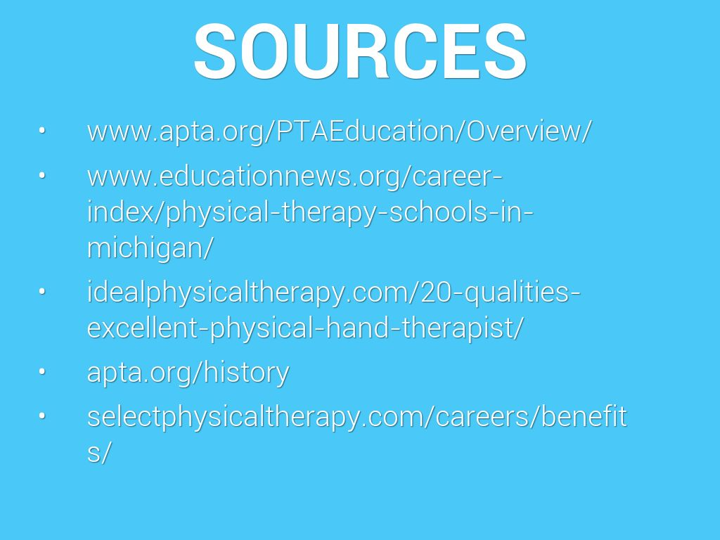 Careers in physical therapy - Sources