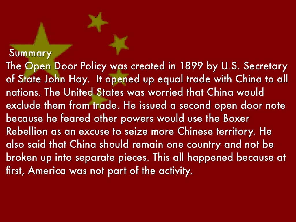 open door policy john hay. The Open Door Policy Was Created In 1899 By U.S. Secretary Of State John Hay. It Opened Up Equal Trade With China To All Nations. Hay