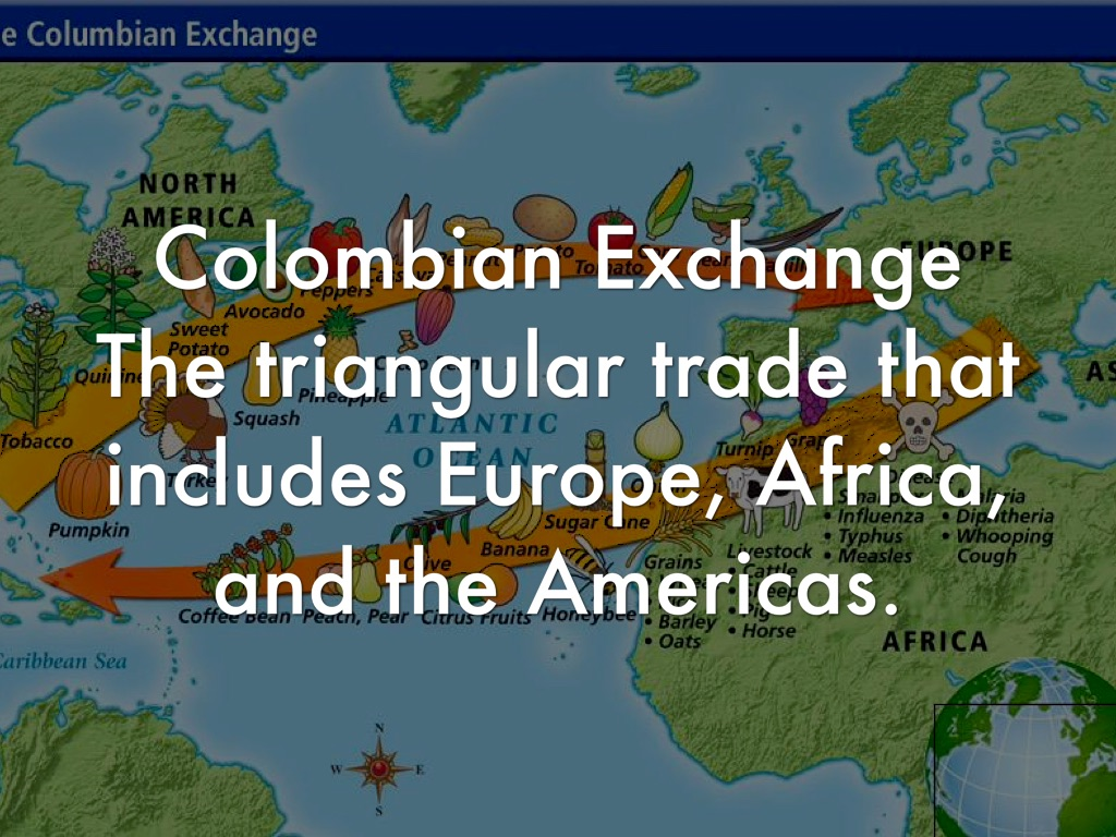 the columbian exchange vs triangular trade Columbian exchange and_triangular_trade 1 the columbian exchange 2 columbian exchange columbus traveled back and forth from europe to the americas on these expeditions he brought goods to and from the countries columbus began a vast global exchange that would effect the world because this global exchange began with.
