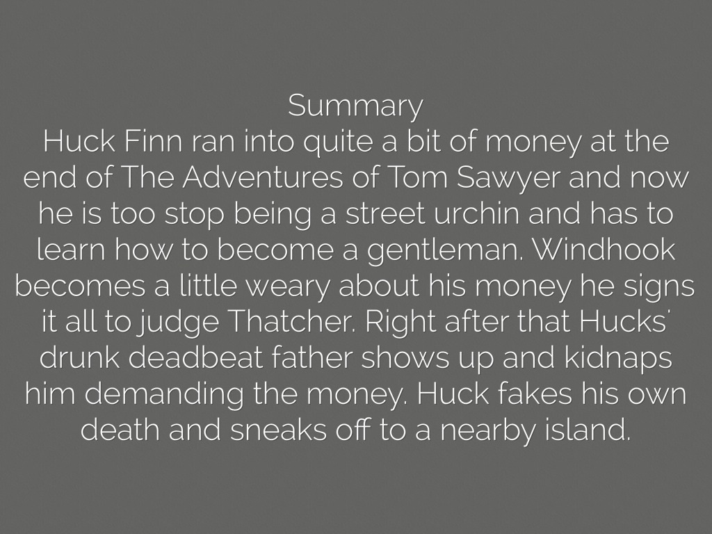 huckleberry finn book report essay The case of a fiction character huckleberry finn provides a valuable insight into the interaction of morality and sympathy through the exploration of his dilemma the terms are illustrated and the conclusions are drawn about the conduct of human beings.