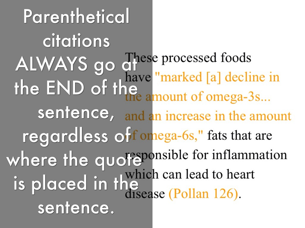 "parenthetical referencing essay Essay as well as a list of citations on a ""references"" page at the end of a text parenthetical references should be placed at the end of the sentence, before the period, when a resource has been used if the sentence is either long enough or complex enough so that the cited portion of the sentence is not obvious, the parenthetical reference."