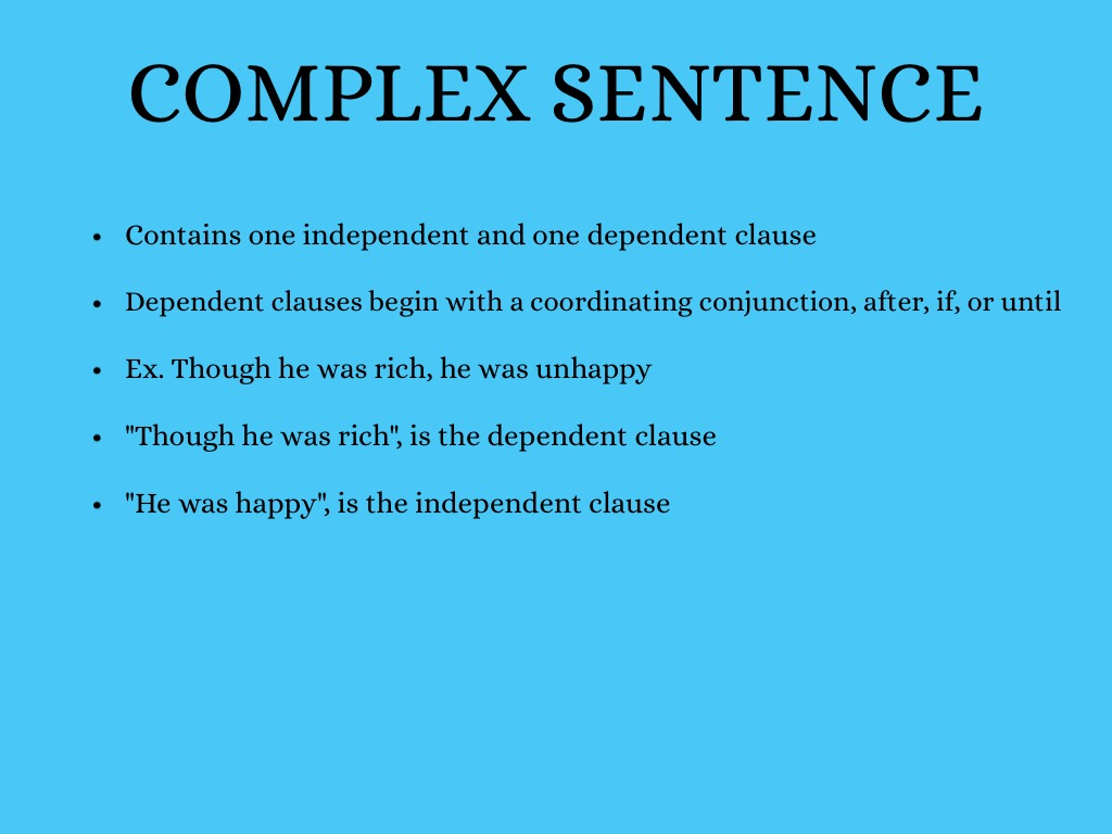 Simple, Complex, & Compound Sentences