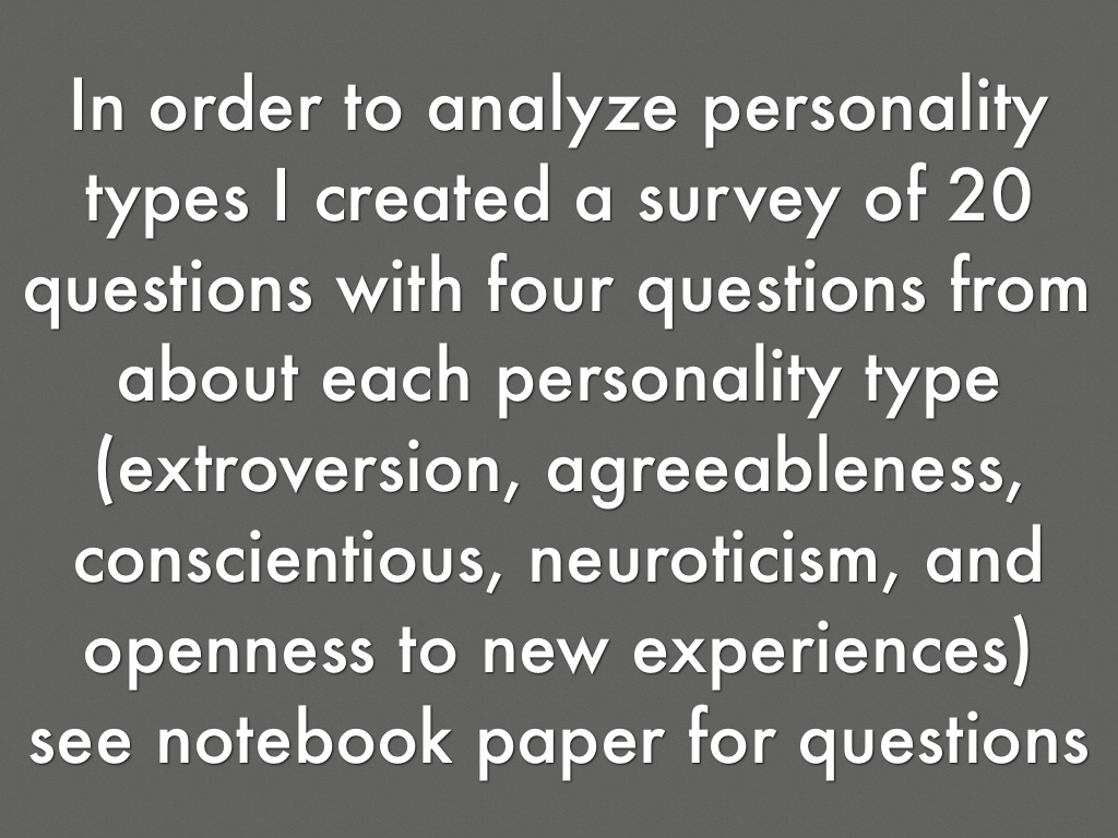 my experience with the big five personality test You will receive information about your position along each of the big five (the tendency to empathically experience the the personality test is based on.