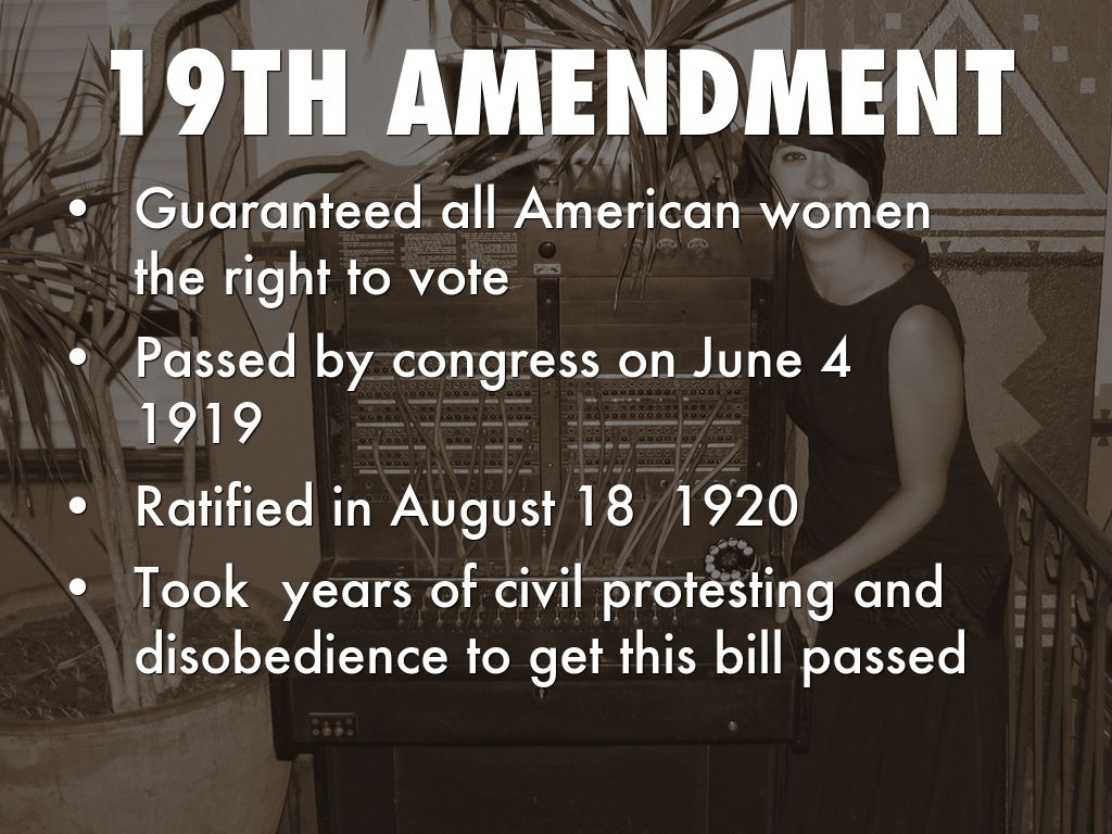 19th amendment 1 Page 1 of 11 unit: 1920s lesson title: the 19th amendment and the american  way lesson focus: looking at the democratic process, national identity, and.