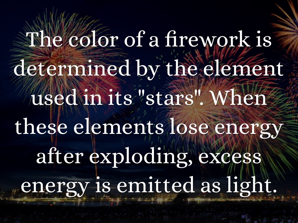 the chemistry of fireworks chemistry essay Essay by crnagora, high school, 10th grade, october 2009  behind all the  excitement of fireworks, chemistry plays an importantrole in.