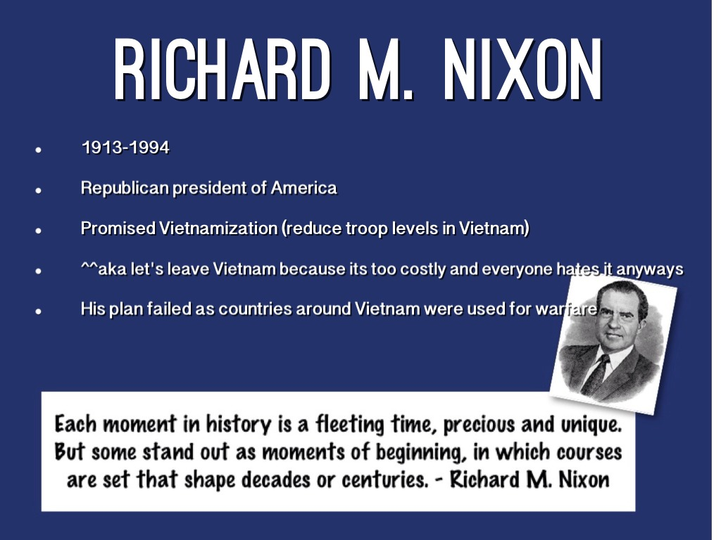 richard nixon outline Eight years after being defeated by john f kennedy in the 1960 election, richard nixon defeats hubert h humphrey and is elected presidenttwo years after losing to kennedy, nixon ran for governor of california and lost in a bitter campaign.