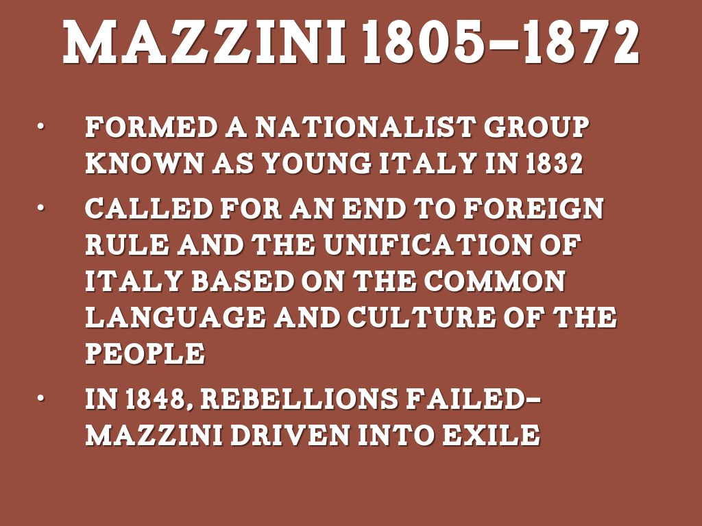 the contributions of guiseppe mazzini in democratic nationalism The illuminati and the cfr  founder of the democratic party,  in 1834 the italian revolutionary leader, guiseppe mazzini,.