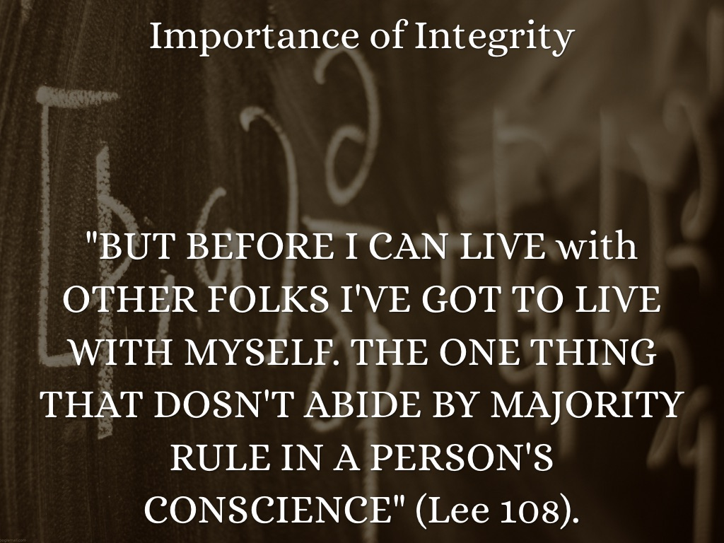 the importance of integrity 11 the importance of ethical behaviour for citizens, even for those of us with no aspirations in a career in law enforcement, morality and integrity are important.