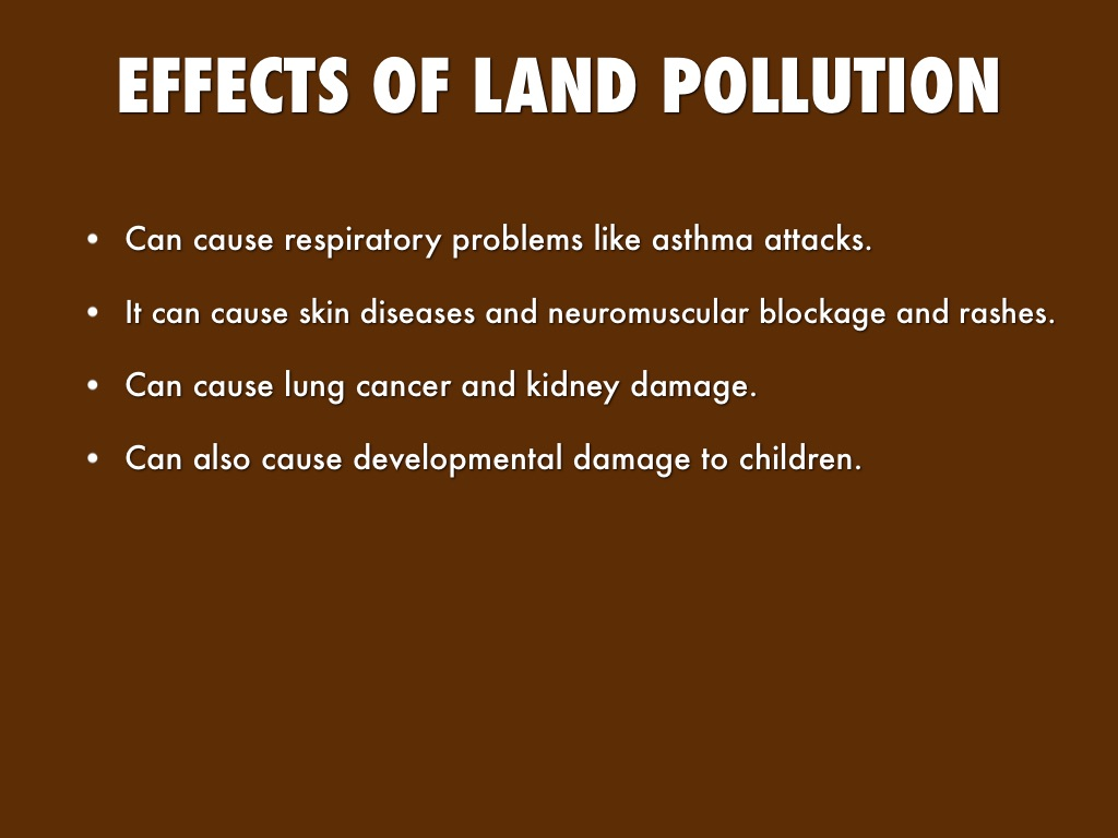 cause and effect essay about land pollution Essay on environmental pollution: causes, effects and solution category: blog,  air and soil pollution effect environmental pollution can have devastating effects on sea life, on crops and on human health it affects all plant, human and animal life in a negative way  air-pollution may cause severe lungs-diseases,.