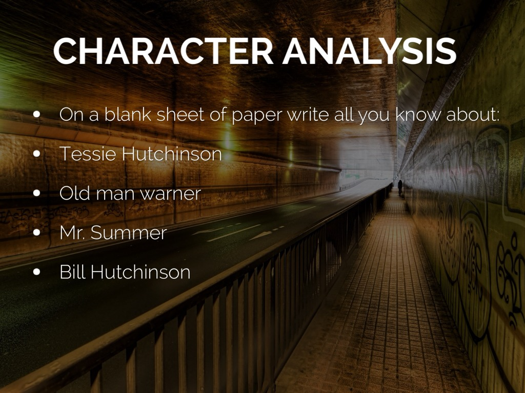 "character analysis tessie hutchinson lottery Short character analysis of tessie hutchinson for this paper, take your information from the short story ""the lottery\"" and create a 2 page paper on the."