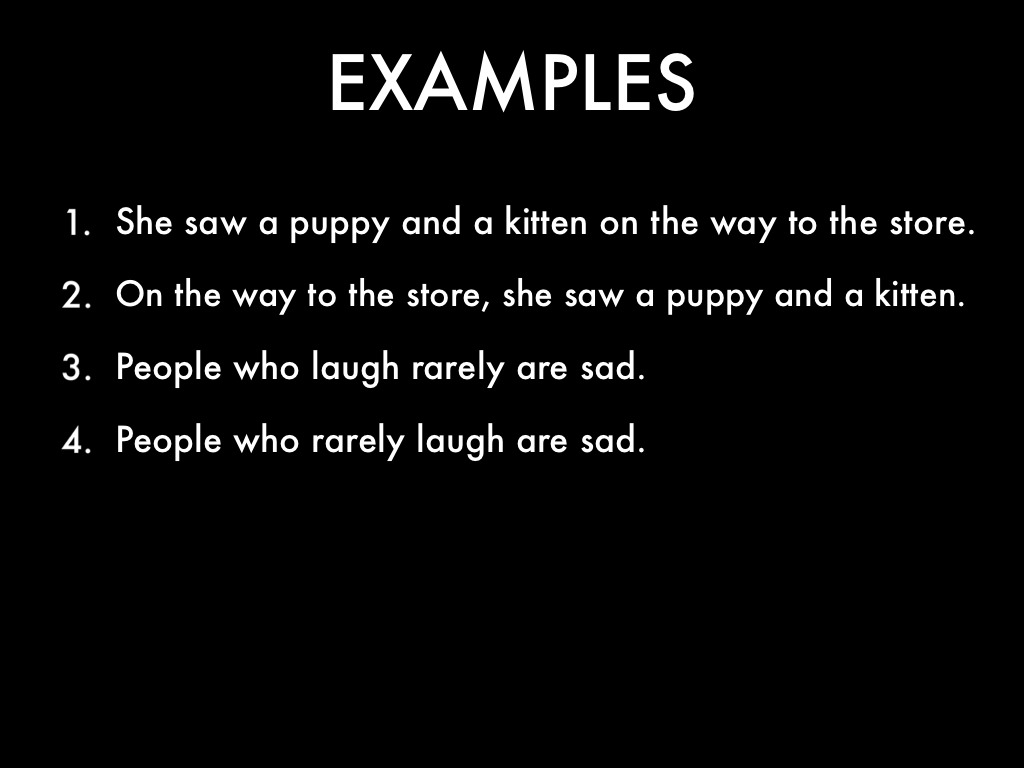 sentence modifiers examples