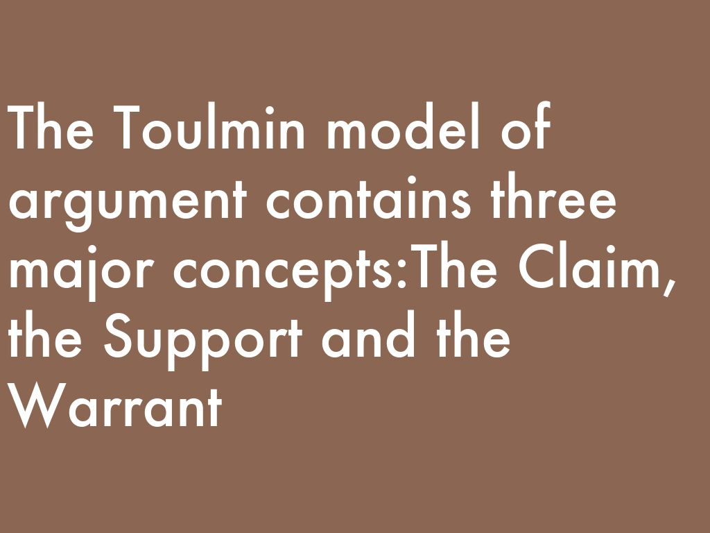 toulmin thesis model The toulmin model of argumentation thesis statement  and the third with what toulmin calls the  you will notice the toulmin model at work in that last.