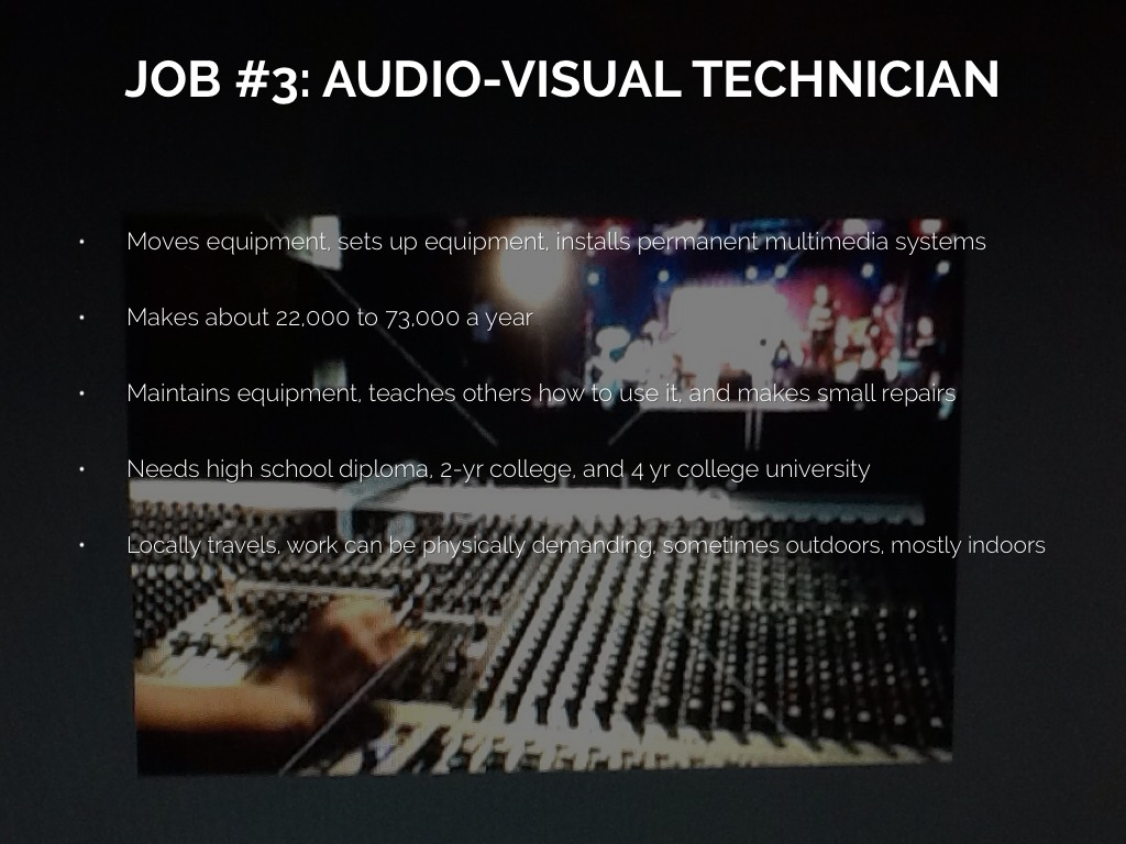 audio visual A-1 audio visual, llc is a full-service audio visual company we have three primary departments: audio, video and lighting, with resources for scenic and.