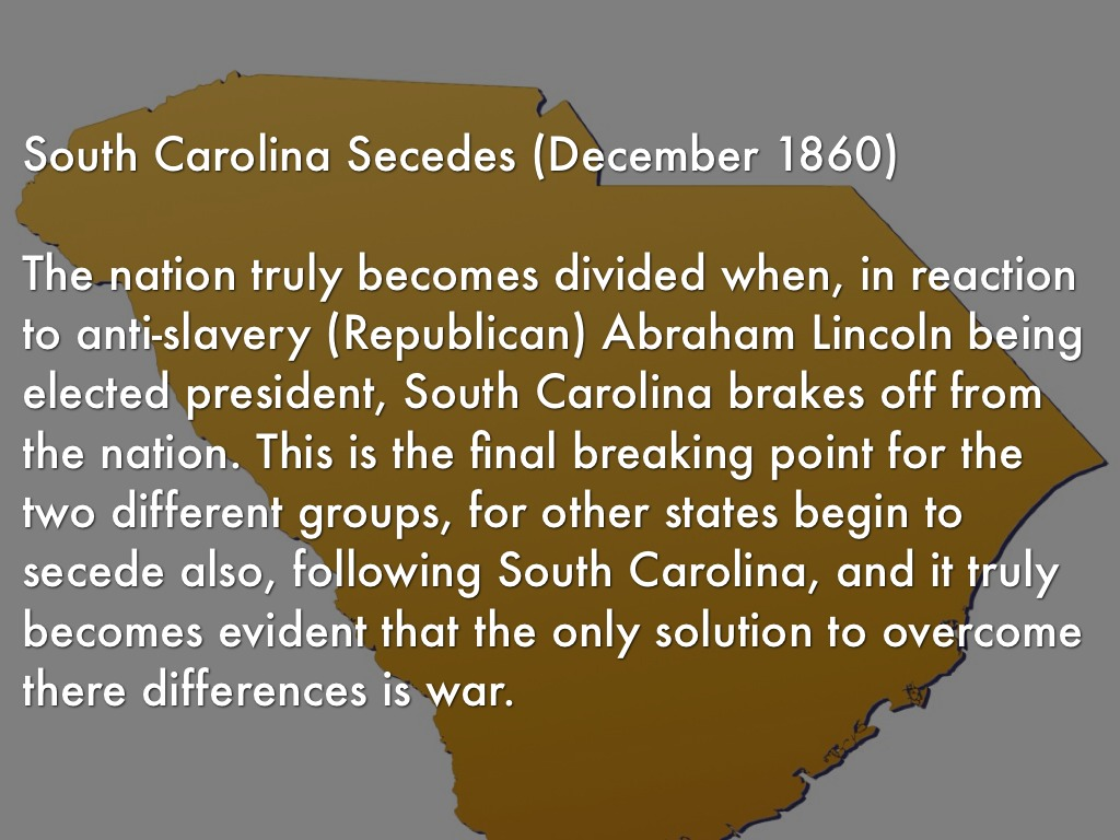 graded assignment south carolina secedes essay - abraham lincoln run for office saying america can't be half slaves states and one half is free states he is elected presidentdecember 20, 1860, - south carolina secedes from the union.