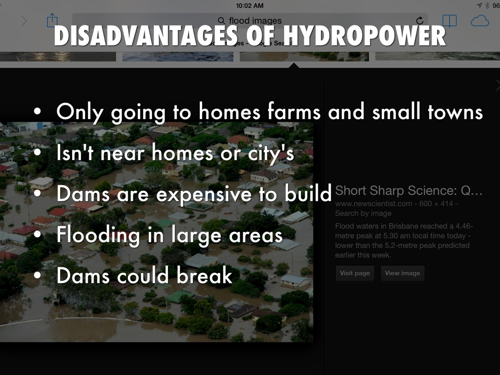 advantages and disadvantages of hydropower Hydroelectric power includes both massive hydroelectric dams and small run-of- the-river plants large-scale hydroelectric dams continue to be built in many.