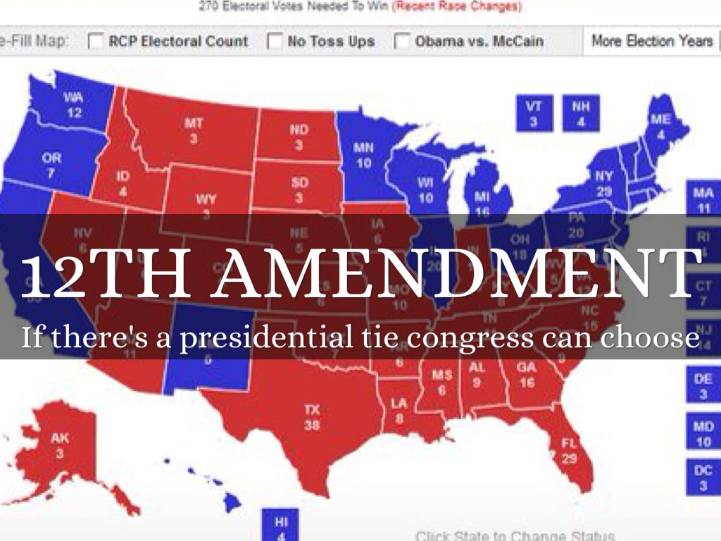 12th amendment The twelfth amendment to the united states constitution was ratified on june 15, 1804 as a result of the two previous disastrous elections of 1796 and 1800.