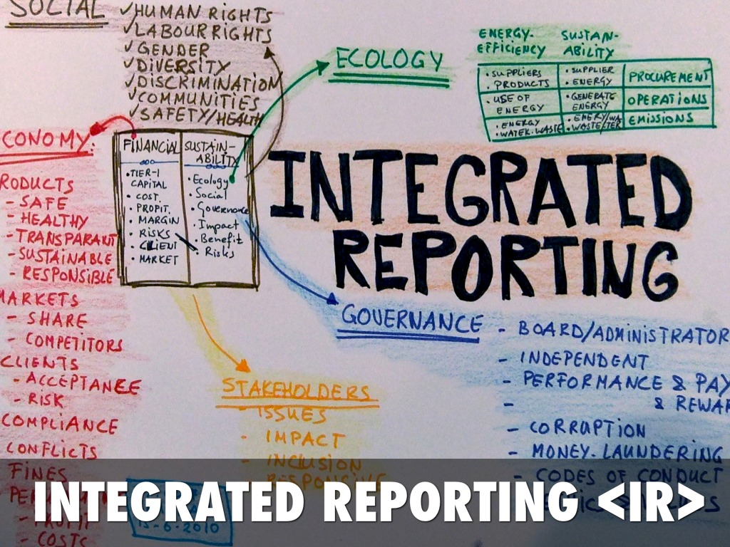 integrated reporting Integrated reporting (ir) has been developed and promoted by the international integrated reporting council (iirc), a global coalition of regulators, investors, companies, standard setters, the accounting profession and non-governmental organisations.