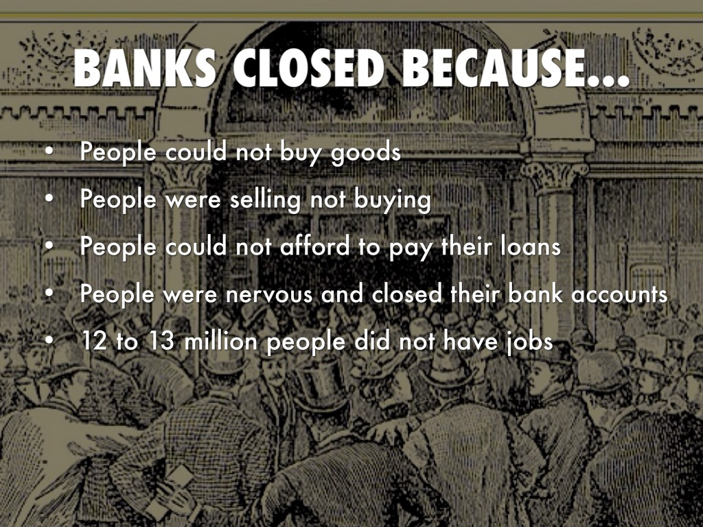 bank runs during the great depression Bank runs were also an issue that led to the great depression with the economy from history 206 at ashford university.
