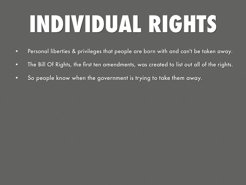 individual rights Because of objectivism's profound commitment to the individual, it has to approach political philosophy with radical questions: what makes living in a societ.