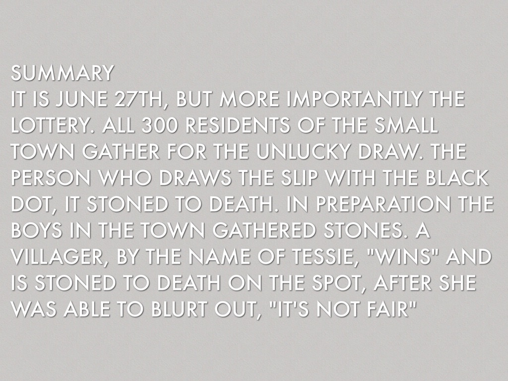 analysis of setting in the lottery Shirley jackson shirley jackson (december 14, 1919 - august 8, 1965) was an american author who wrote short stories and novels her most famous work is her short story the lottery, which combines a peaceful small-town-america setting with a horrific shock ending.