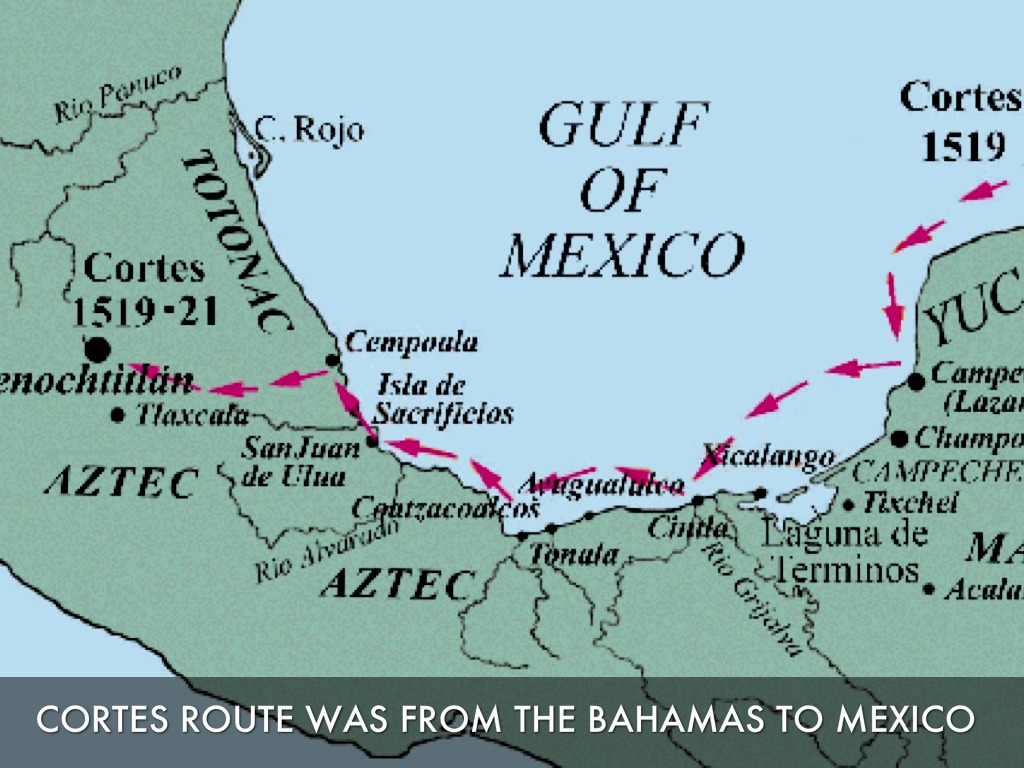 Hernan Cortes Exploration Route Map: Explorers By Cameron And Dillon R By Cameron Maas