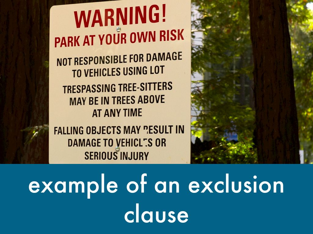 exclusion clause eassy sample Generally, exclusion clause can be defined as a declaration intended to limit   this is not an example of the work written by our professional essay writers   take for an example in olley v marlborough court ltd (1949) case, mr and mrs.