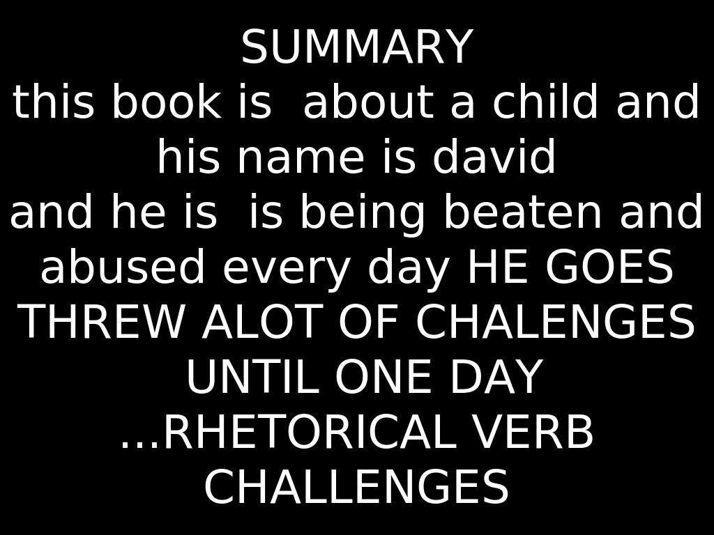 an analysis of dave pelzers novel a child called it David james dave pelzer (born december 29 pelzer's first book, a child called it was published in 1995 and describes the abuse pelzer suffered in his childhood.
