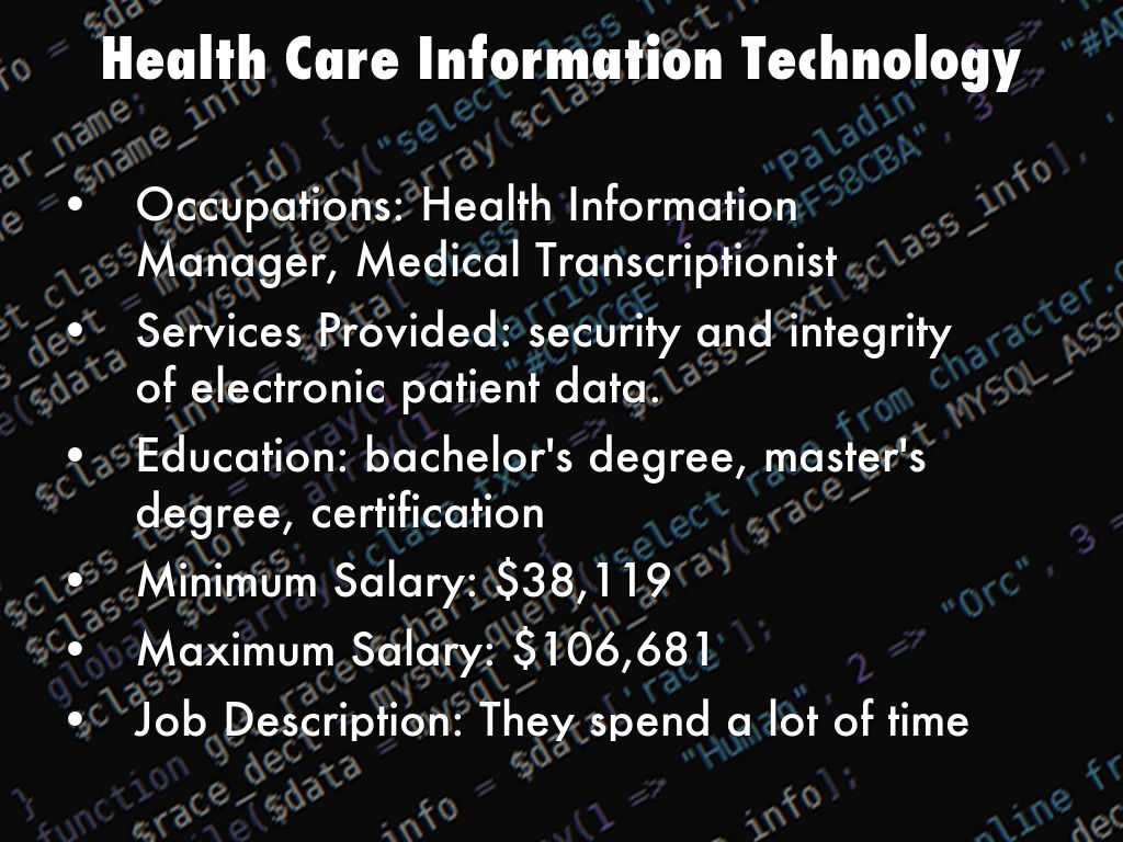Health Information Technology Manager Job Description - Popular ...