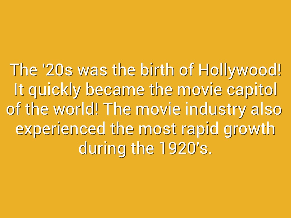The Film Industry In The '20s by ekk1997