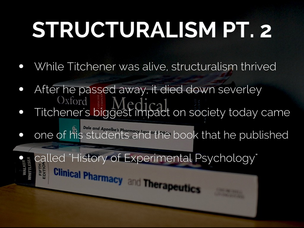 edward titchener and structuralism psychology essay Structuralism pyschology essay this research paper will explain both theories of structuralism and the theories of structuralism and functionalism psychology essays more psychology essays.