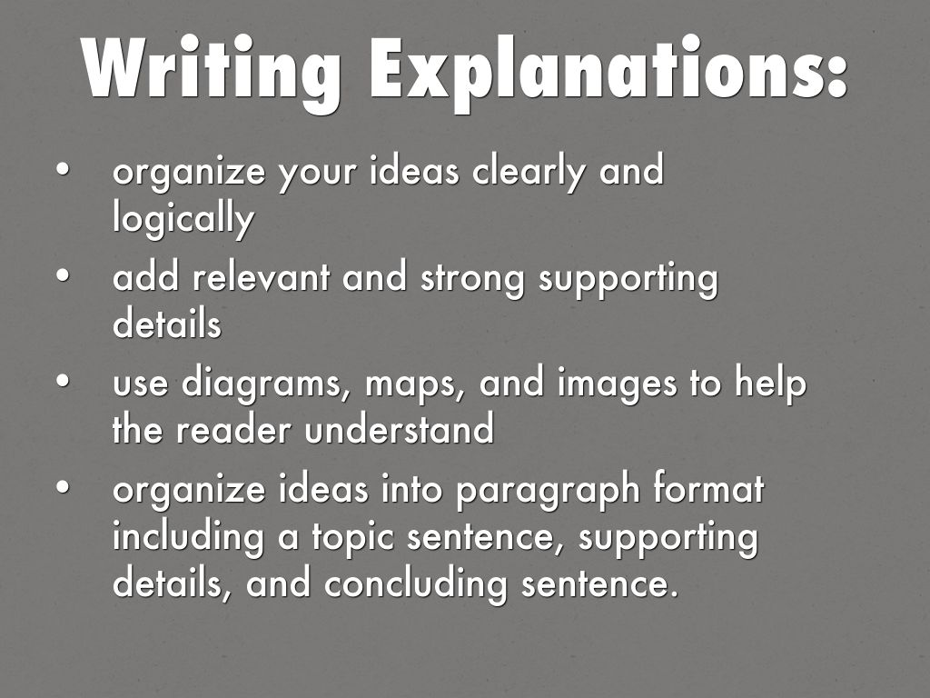 explanation writing topics Examples of explanatory writing gaeilge pdst is funded by the teacher education section (tes) of the department of education and skills (des) the service is managed by dublin west education centre.