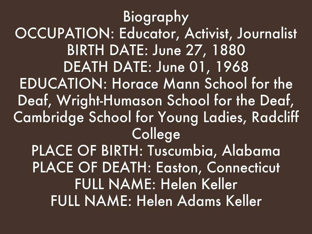 helen keller outline Biography worksheets for grades k-5 introduce your students to the lives of famous and notable individuals with our biography printables these resources.
