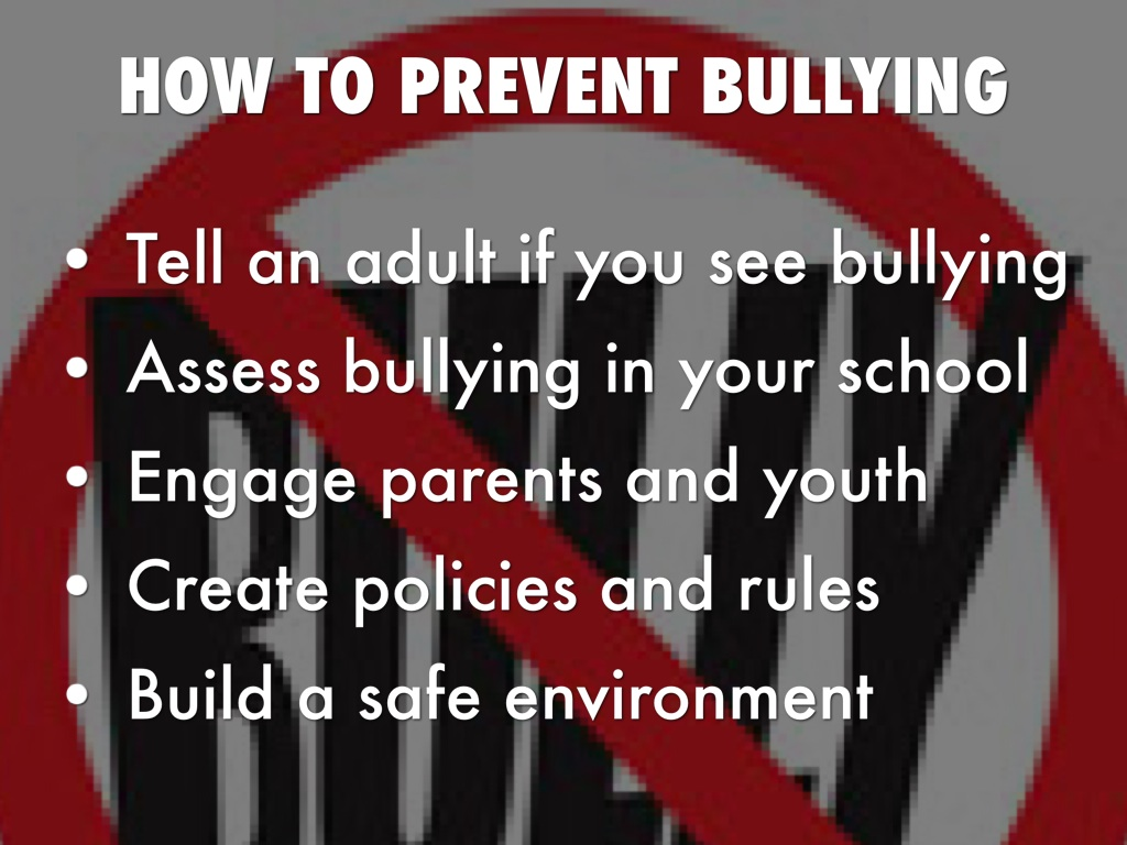 a procedures to prevent bulling essay The best thing you can do is try to stop the bullying by taking a stand against it if you can't stop it, support the person being bullied if the person's a friend, you can listen and see how to help.