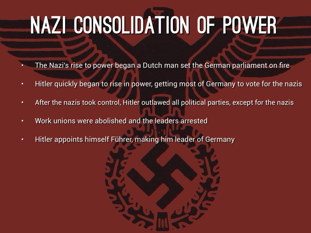 nazi consolidation of power essay Below is an essay on nazi consolidation of power from anti essays, your source for research papers, essays, and term paper examples in my opinion, there are many factors that led to the creation of the nazi dictatorship between 30 january 1933 and 2 august 1934 including the night of the long knives, the enabling law, hindenburg's.