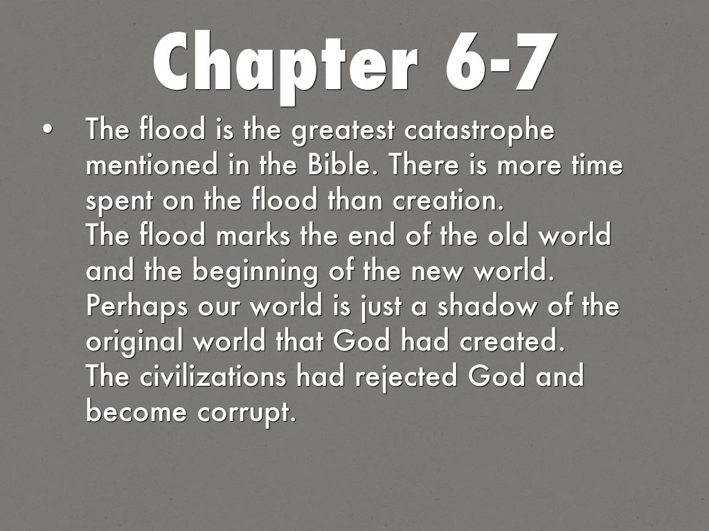 genesis 6 The sons of god marry the daughters of men—men turn to wickedness, the earth is filled with violence, and all flesh is corrupted—the flood is promised—god establishes his covenant with noah.