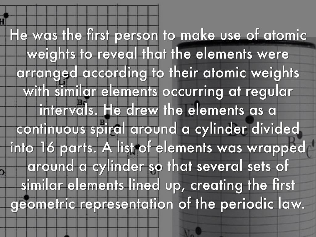 Development of the periodic table by ethan josh alexandre mile bguyer de chancourtois gamestrikefo Gallery