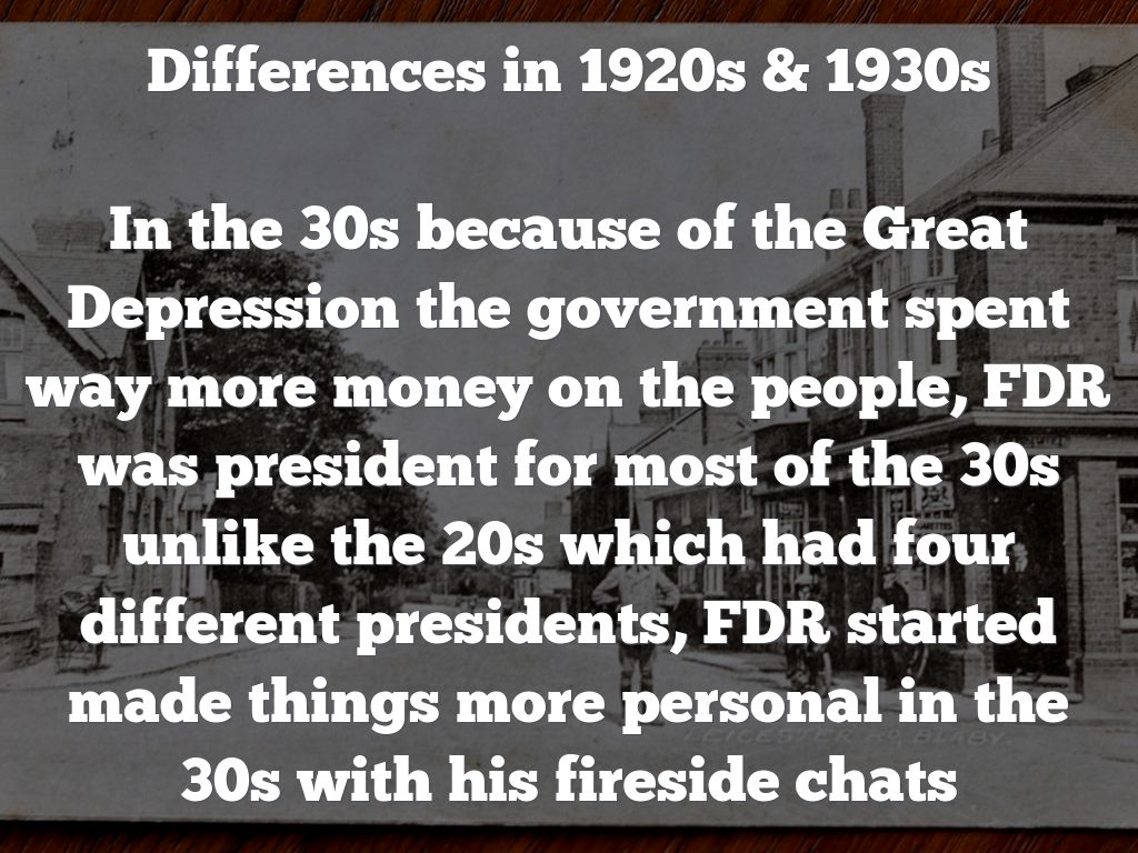 differences between the 1920s and 1930s