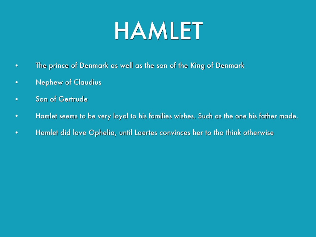 hamlets loyalty to his father essay